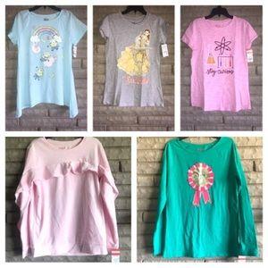 Other - 3 Girls short sleeve shirts, 2 long sleeve shirts
